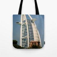 arab Tote Bags featuring Dubai - Burj Al Arab by gdesai