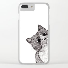 Astonishment Cat Clear iPhone Case