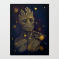 groot Canvas Prints featuring Groot by Ka-ren