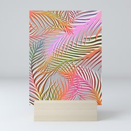Palm Leaves Pattern - Pink, Gray, Orange Mini Art Print