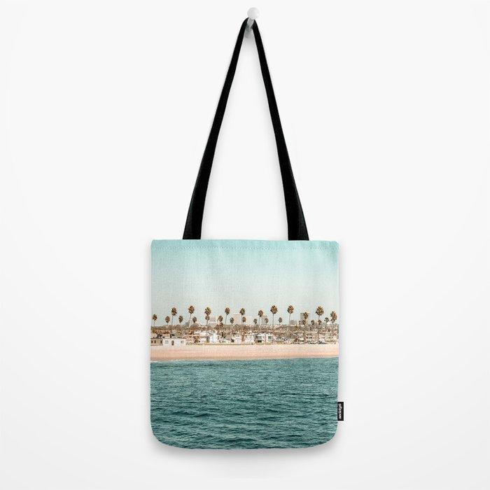 Vintage Newport Beach Print {1 of 4} | Photography Ocean Palm Trees Teal Tropical Summer Sky Tote Bag