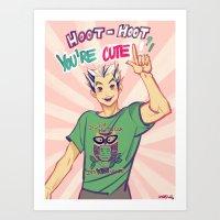 viria Art Prints featuring Hoot hoot you're cute! by viria
