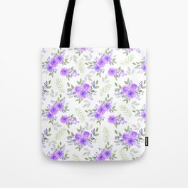 Hand painted violet lilac green watercolor peonies floral Tote Bag