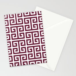 Cabernet Red and White Greek Key Pattern Stationery Cards