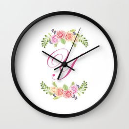 Floral Initial Letter Y Wall Clock
