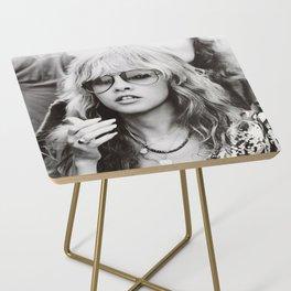Stevie Nicks Young Black and white Retro Silk Poster Frameless Side Table