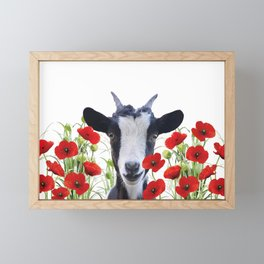 Goat between Poppies Field Framed Mini Art Print