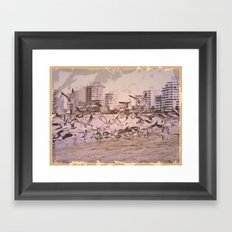 seagull above the city Framed Art Print