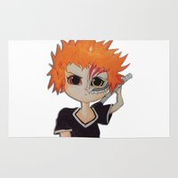 bleach Area & Throw Rugs featuring Baby ichigo Fan Art -Bleach by gunesimben