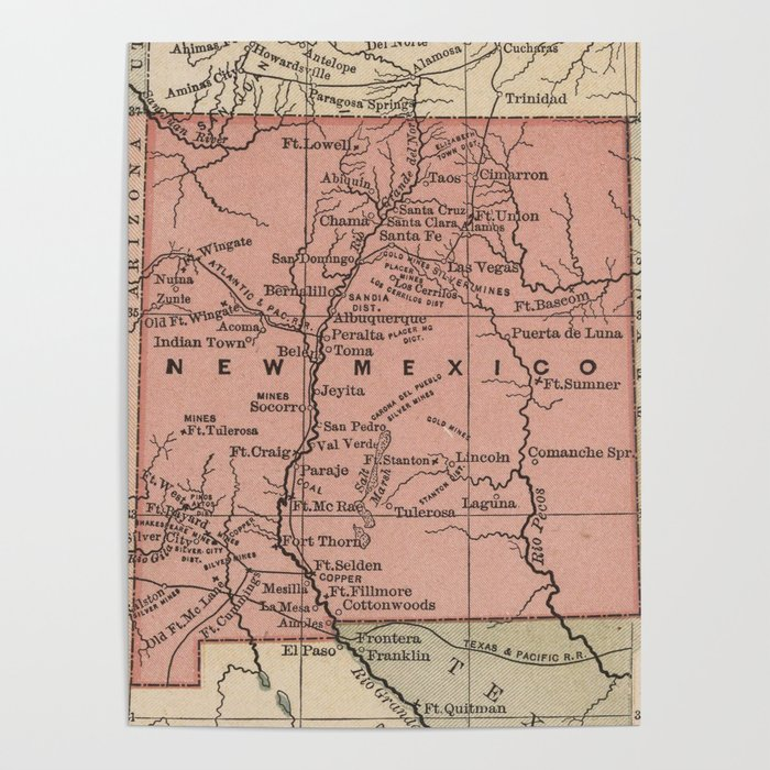 Map Of Arizona 1880.Vintage Map Of New Mexico 1880 Poster By Bravuramedia