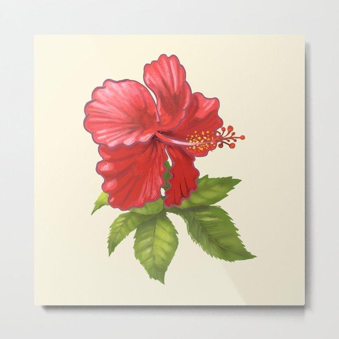 Pink Tropical Hibiscus Flower Painting Metal Print By Newburydesigns