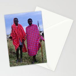 Two Maasai Teens Tending to Cattle in Africa Stationery Cards