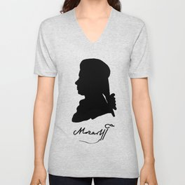 Wolfgang Amadeus Mozart (1756 -1791) silhouette, engraved by Hieronymous Löschenkohl, 1785 Unisex V-Neck