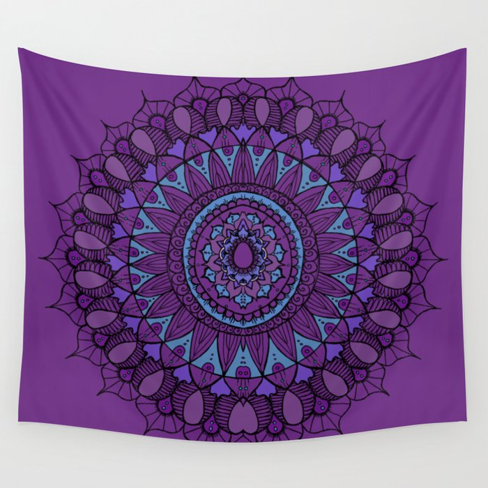 Bohemian Mandala in Plum with Turquoise Wall Tapestry