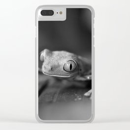 Cute Little Frog (Black and White) Clear iPhone Case