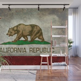 Californian flag the Bear flag in retro grunge Wall Mural