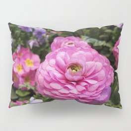 Spring Rosy Ranunculus And Primrose With Violet Violas Pillow Sham