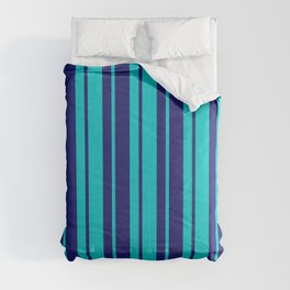 Dark Turquoise & Midnight Blue Colored Striped Pattern Comforters