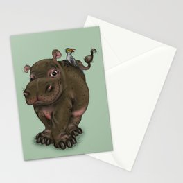 Hippo and Bird Friend Stationery Cards