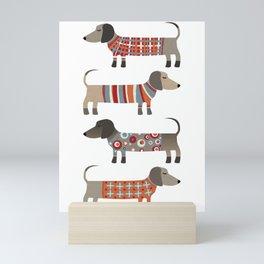 Sausage Dogs in Sweaters Mini Art Print