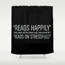 Reads Happily - Black Shower Curtain