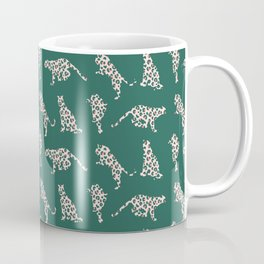 Pink and Teal Leopard Silhouettes Coffee Mug