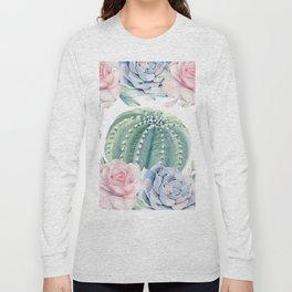 Cactus Rose Succulents Garden Long Sleeve T-shirt