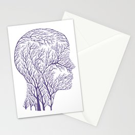 Head Profile Branches - Ultra Violet Stationery Cards
