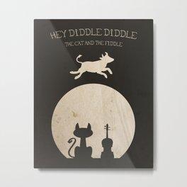Hey Diddle Diddle. Children's Nursery Rhyme Inspired Artwork. Metal Print