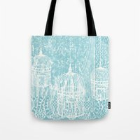 aelwen Tote Bags featuring Hang in there.  by Elena O'Neill