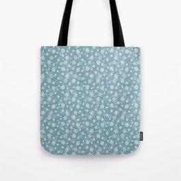 Christmas Icy Blue Velvet Snow Flakes Tote Bag