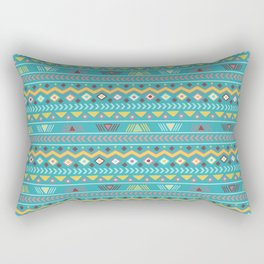 Geometrical teal orange colorful tribal aztec Rectangular Pillow