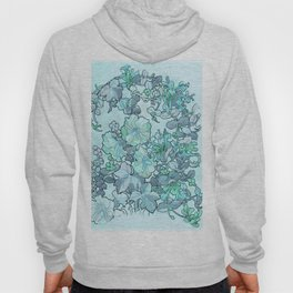 """Alphonse Mucha """"Printed textile design with hollyhocks in foreground"""" (edited blue) Hoody"""