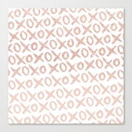Elegant faux rose gold blush pink love xoxo typography pattern Canvas Print