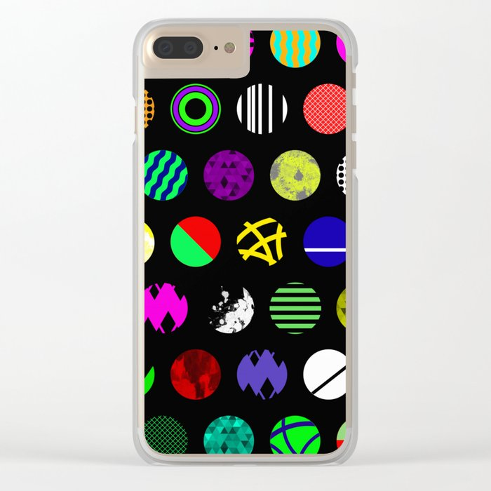 Eclectic Circles - Abstract collage of random, colourful, bold, eclectic circles Clear iPhone Case