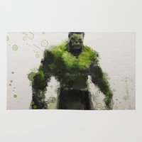water colour Area & Throw Rugs featuring Water Colour Hulk by Scofield Designs