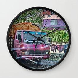 KATHMANDU NEIGHBORHOOD THROUGH CRACKED WINDSHIELD  Wall Clock
