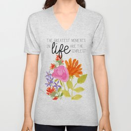 Watercolor Flowers with Saying Unisex V-Neck