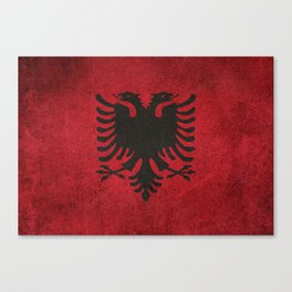Old and Worn Distressed Vintage Flag of Albania Canvas Print