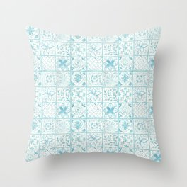 Light Blue Watercolor Painted Tiles  Throw Pillow