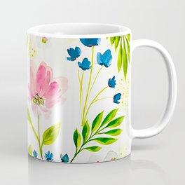 Garden Floral Stems Watercolor Coffee Mug