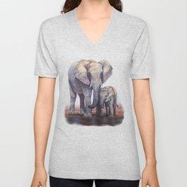 Elephants Mom Baby Unisex V-Neck