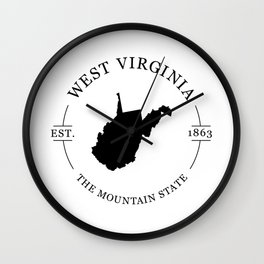 West Virginia - The Mountain State Wall Clock