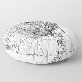 Jersey Shore, New Jersey Map Art (White) Floor Pillow