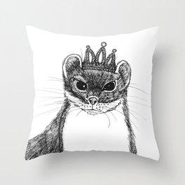 flapper weasel wearing a glittering tiara Throw Pillow