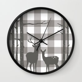 Deer & Birch Grey Plaid Wall Clock