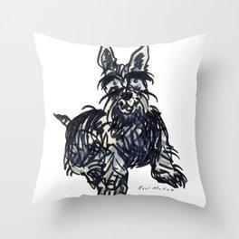 Scottie dog without his kilt Throw Pillow