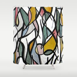 Geometric Abstract Watercolor Ink Shower Curtain