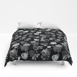 Black and White Roses on Black Background Comforters