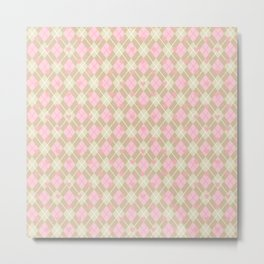 Pink Plaid w/heart Metal Print
